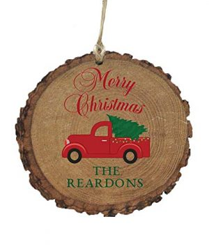 GiftsForYouNow Red Truck Merry Christmas Rustic Personalized Ornament 0 300x360