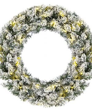 Goplus Pre Lit Cordless Christmas Wreath Artificial Snow Flocked Pine Wreath Built In 6 Hour Timer With 50 Warm LED Lights And Silver Bristles Xmas Decor For Home And Party 0 300x360