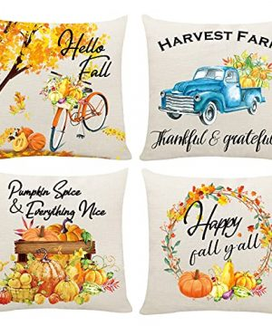 HAJACK Fall Pillow Covers 18x18 Fall Decorations For Home Fall Leaves Decorative Pumpkins Fall Decor For Farmhouse Fall Pillow Covers With Truck Decor Autumn Throw Pillow Covers Set Of 4 0 300x360
