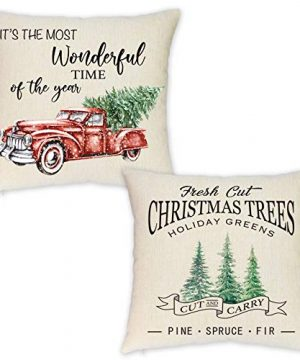 HEOFEAN Christmas Pillow Covers 18x18 Inch Set Of 2 Farmhouse Christmas Throw Pillow Covers For Christmas Decor Red Truck Christmas Decorative Pillow Covers 0 300x360