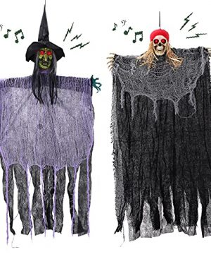 HOLYFUN 2 Pack Halloween Hanging Decorations 40 Witch And Skeleton Pirate With Voice Control Sound And Light Halloween Indoor And Outdoor Party Decor For Yard Patio Lawn Garden 0 300x360