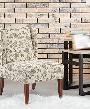 HOMCOM Upholstered Armless Accent Chair Leisure Side Chair With Wingback Soft Linen Fabric And Solid Wood Legs Decorative For Bedroom Living Room Floral 0 0 300x360