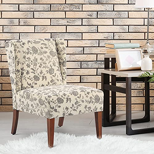 HOMCOM Upholstered Armless Accent Chair Leisure Side Chair With Wingback Soft Linen Fabric And Solid Wood Legs Decorative For Bedroom Living Room Floral 0 0