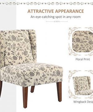 HOMCOM Upholstered Armless Accent Chair Leisure Side Chair With Wingback Soft Linen Fabric And Solid Wood Legs Decorative For Bedroom Living Room Floral 0 1 300x360