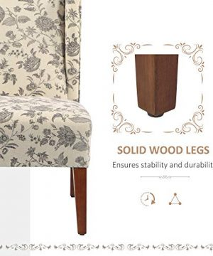 HOMCOM Upholstered Armless Accent Chair Leisure Side Chair With Wingback Soft Linen Fabric And Solid Wood Legs Decorative For Bedroom Living Room Floral 0 3 300x360