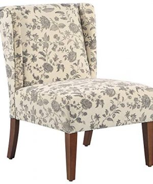HOMCOM Upholstered Armless Accent Chair Leisure Side Chair With Wingback Soft Linen Fabric And Solid Wood Legs Decorative For Bedroom Living Room Floral 0 300x360