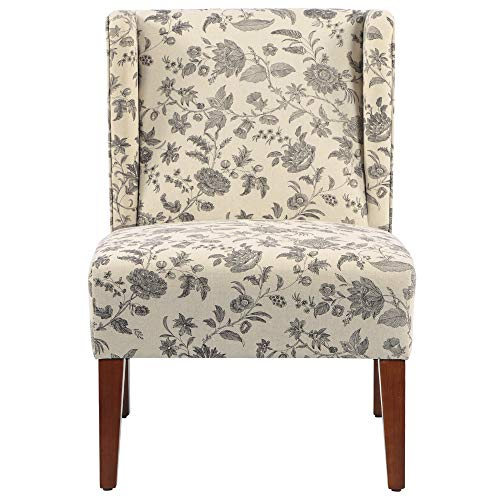 HOMCOM Upholstered Armless Accent Chair Leisure Side Chair With Wingback Soft Linen Fabric And Solid Wood Legs Decorative For Bedroom Living Room Floral 0 4