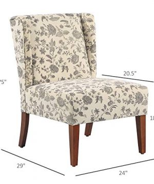 HOMCOM Upholstered Armless Accent Chair Leisure Side Chair With Wingback Soft Linen Fabric And Solid Wood Legs Decorative For Bedroom Living Room Floral 0 5 300x360