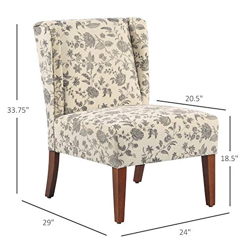 HOMCOM Upholstered Armless Accent Chair Leisure Side Chair With Wingback Soft Linen Fabric And Solid Wood Legs Decorative For Bedroom Living Room Floral 0 5