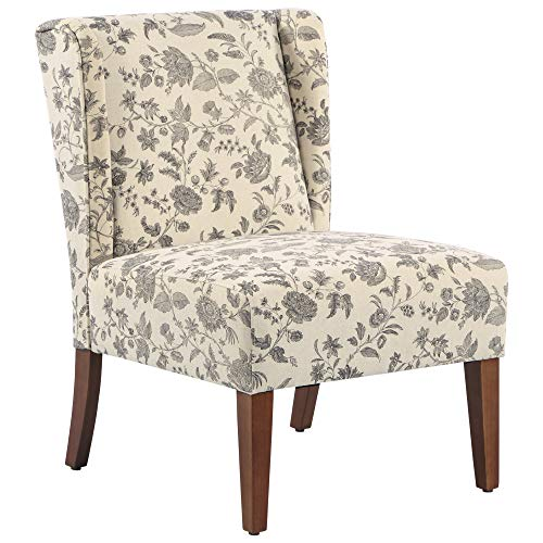 HOMCOM Upholstered Armless Accent Chair Leisure Side Chair With Wingback Soft Linen Fabric And Solid Wood Legs Decorative For Bedroom Living Room Floral 0