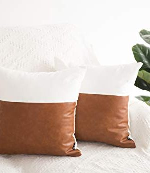 HOMFINER Decorative Throw Pillow Covers 20x20 Set Of 2 Faux Leather And 100 Cotton Square Cushion Cases For Couch Bed Sofa Modern Boho Farmhouse Home Decor Cognac Brown White Accent 0 0 300x346