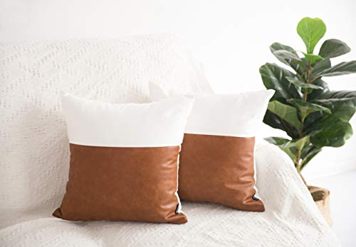 HOMFINER Decorative Throw Pillow Covers 20x20 Set Of 2 Faux Leather And 100 Cotton Square Cushion Cases For Couch Bed Sofa Modern Boho Farmhouse Home Decor Cognac Brown White Accent 0 0
