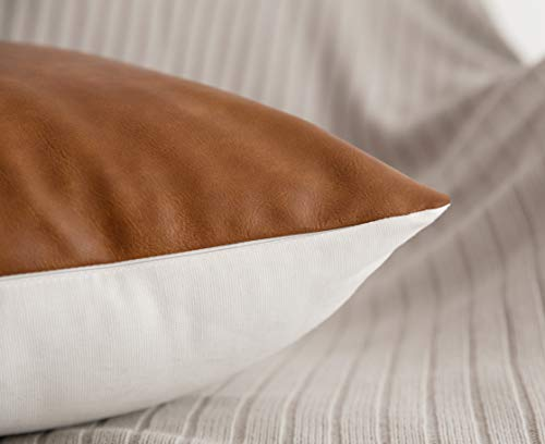 HOMFINER Decorative Throw Pillow Covers 20x20 Set Of 2 Faux Leather And 100 Cotton Square Cushion Cases For Couch Bed Sofa Modern Boho Farmhouse Home Decor Cognac Brown White Accent 0 1