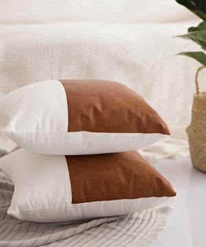 HOMFINER Decorative Throw Pillow Covers 20x20 Set Of 2 Faux Leather And 100 Cotton Square Cushion Cases For Couch Bed Sofa Modern Boho Farmhouse Home Decor Cognac Brown White Accent 0 2 300x360