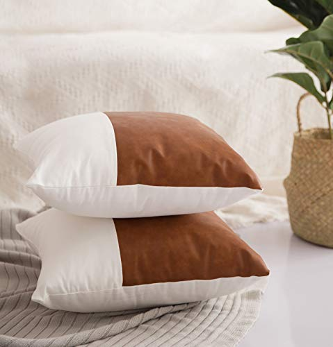 HOMFINER Decorative Throw Pillow Covers 20x20 Set Of 2 Faux Leather And 100 Cotton Square Cushion Cases For Couch Bed Sofa Modern Boho Farmhouse Home Decor Cognac Brown White Accent 0 2