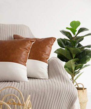 HOMFINER Decorative Throw Pillow Covers 20x20 Set Of 2 Faux Leather And 100 Cotton Square Cushion Cases For Couch Bed Sofa Modern Boho Farmhouse Home Decor Cognac Brown White Accent 0 3 300x360