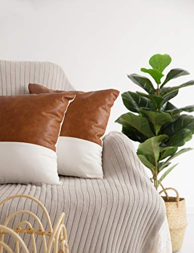 HOMFINER Decorative Throw Pillow Covers 20x20 Set Of 2 Faux Leather And 100 Cotton Square Cushion Cases For Couch Bed Sofa Modern Boho Farmhouse Home Decor Cognac Brown White Accent 0 3