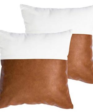 HOMFINER Decorative Throw Pillow Covers 20x20 Set Of 2 Faux Leather And 100 Cotton Square Cushion Cases For Couch Bed Sofa Modern Boho Farmhouse Home Decor Cognac Brown White Accent 0 300x360
