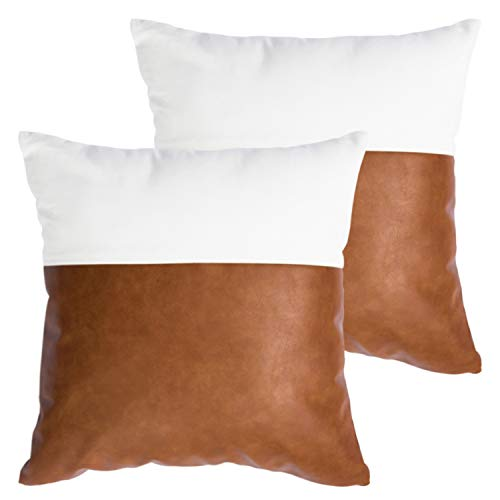 HOMFINER Decorative Throw Pillow Covers 20x20 Set Of 2 Faux Leather And 100 Cotton Square Cushion Cases For Couch Bed Sofa Modern Boho Farmhouse Home Decor Cognac Brown White Accent 0