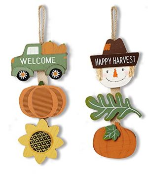 HOMirable Thanksgiving Pumpkin Gnome Decor 2 Pieces Wooden Fall Sign Truck Home Wall Decor Vintage Metal Hanging Decoration Autumn Harvest Halloween Farmhouse Signs 0 300x360