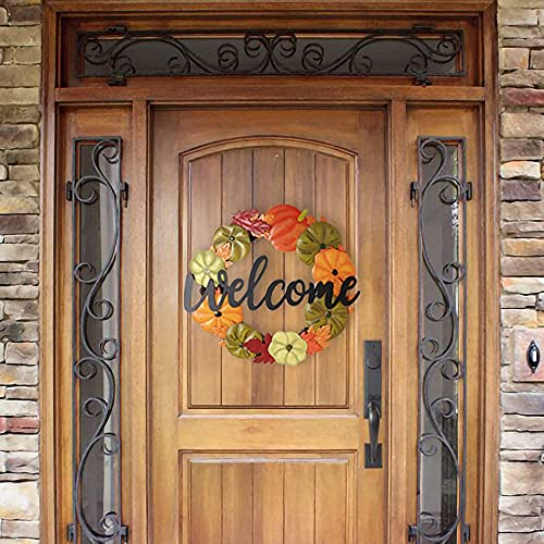 HOMirable Welcome Wreath Pumpkin Fall Sign For Front Door 15 Inch Metal Thanksgiving Decor Rustic Farmhouse Signs Outdoor Home Wall Hanging Decoration For Autumn Harvest Halloween 0 0