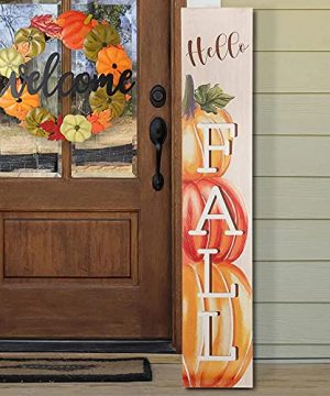 HOMirable Welcome Wreath Pumpkin Fall Sign For Front Door 15 Inch Metal Thanksgiving Decor Rustic Farmhouse Signs Outdoor Home Wall Hanging Decoration For Autumn Harvest Halloween 0 1 300x360