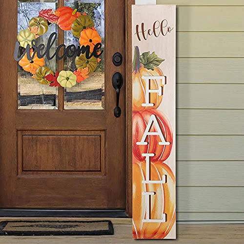 HOMirable Welcome Wreath Pumpkin Fall Sign For Front Door 15 Inch Metal Thanksgiving Decor Rustic Farmhouse Signs Outdoor Home Wall Hanging Decoration For Autumn Harvest Halloween 0 1