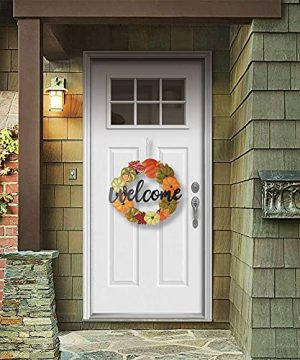 HOMirable Welcome Wreath Pumpkin Fall Sign For Front Door 15 Inch Metal Thanksgiving Decor Rustic Farmhouse Signs Outdoor Home Wall Hanging Decoration For Autumn Harvest Halloween 0 2 300x360