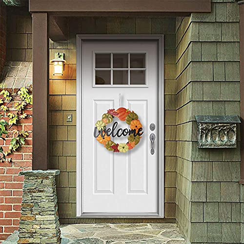 HOMirable Welcome Wreath Pumpkin Fall Sign For Front Door 15 Inch Metal Thanksgiving Decor Rustic Farmhouse Signs Outdoor Home Wall Hanging Decoration For Autumn Harvest Halloween 0 2