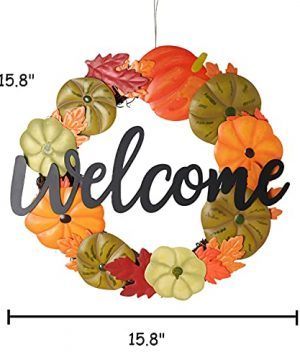 HOMirable Welcome Wreath Pumpkin Fall Sign For Front Door 15 Inch Metal Thanksgiving Decor Rustic Farmhouse Signs Outdoor Home Wall Hanging Decoration For Autumn Harvest Halloween 0 3 300x360