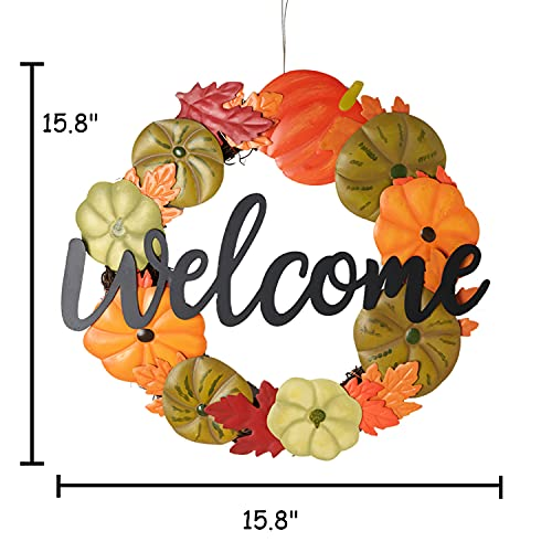 HOMirable Welcome Wreath Pumpkin Fall Sign For Front Door 15 Inch Metal Thanksgiving Decor Rustic Farmhouse Signs Outdoor Home Wall Hanging Decoration For Autumn Harvest Halloween 0 3