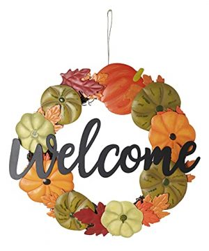 HOMirable Welcome Wreath Pumpkin Fall Sign For Front Door 15 Inch Metal Thanksgiving Decor Rustic Farmhouse Signs Outdoor Home Wall Hanging Decoration For Autumn Harvest Halloween 0 300x360