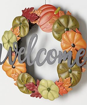 HOMirable Welcome Wreath Pumpkin Fall Sign For Front Door 15 Inch Metal Thanksgiving Decor Rustic Farmhouse Signs Outdoor Home Wall Hanging Decoration For Autumn Harvest Halloween 0 4 300x360