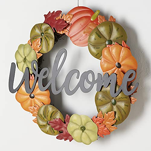 HOMirable Welcome Wreath Pumpkin Fall Sign For Front Door 15 Inch Metal Thanksgiving Decor Rustic Farmhouse Signs Outdoor Home Wall Hanging Decoration For Autumn Harvest Halloween 0 4