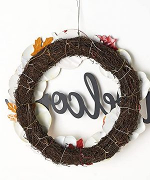 HOMirable Welcome Wreath Pumpkin Fall Sign For Front Door 15 Inch Metal Thanksgiving Decor Rustic Farmhouse Signs Outdoor Home Wall Hanging Decoration For Autumn Harvest Halloween 0 5 300x360