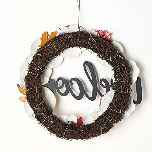 HOMirable Welcome Wreath Pumpkin Fall Sign For Front Door 15 Inch Metal Thanksgiving Decor Rustic Farmhouse Signs Outdoor Home Wall Hanging Decoration For Autumn Harvest Halloween 0 5
