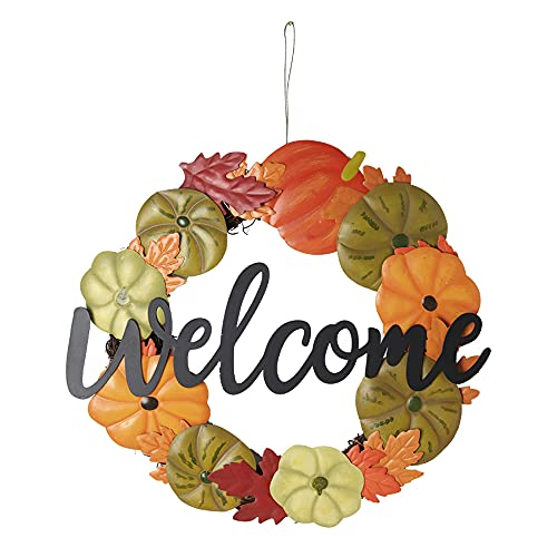 HOMirable Welcome Wreath Pumpkin Fall Sign For Front Door 15 Inch Metal Thanksgiving Decor Rustic Farmhouse Signs Outdoor Home Wall Hanging Decoration For Autumn Harvest Halloween 0