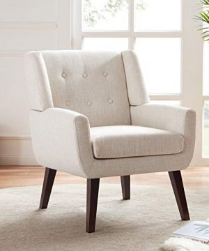 HUIMO Accent Chair Button Tufted Upholstered Sofa Chairs Comfy Linen Fabric Armchair For Bedroom Reading Mid Century Modern Living Room Chair Beige 0 300x360