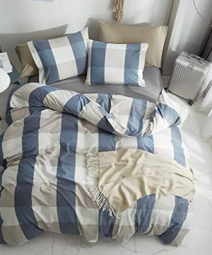HYPREST 100 Washed Cotton Duvet Cover Twin Blue Buffalo Plaid Duvet Cover Set Soft Comfortable Queen Cool Rustic Comforter Cover Bedding SetNO Insert 0 0 300x360