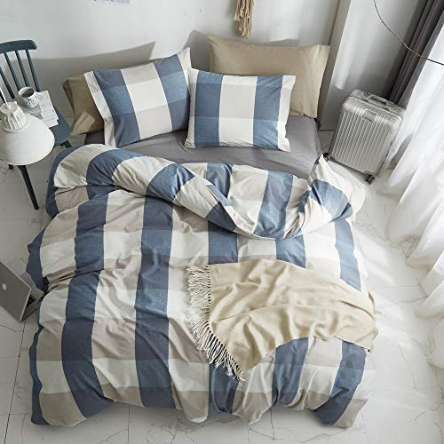 HYPREST 100 Washed Cotton Duvet Cover Twin Blue Buffalo Plaid Duvet Cover Set Soft Comfortable Queen Cool Rustic Comforter Cover Bedding SetNO Insert 0 0