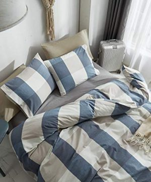 HYPREST 100 Washed Cotton Duvet Cover Twin Blue Buffalo Plaid Duvet Cover Set Soft Comfortable Queen Cool Rustic Comforter Cover Bedding SetNO Insert 0 1 300x360