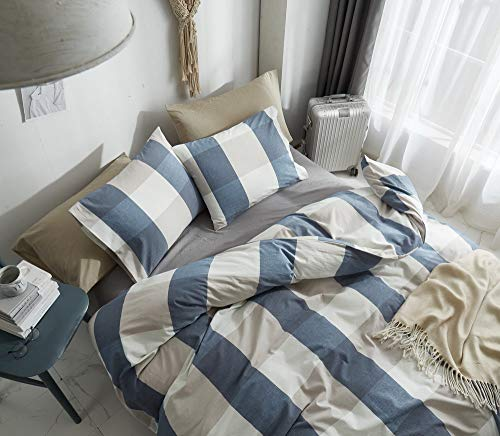 HYPREST 100 Washed Cotton Duvet Cover Twin Blue Buffalo Plaid Duvet Cover Set Soft Comfortable Queen Cool Rustic Comforter Cover Bedding SetNO Insert 0 1