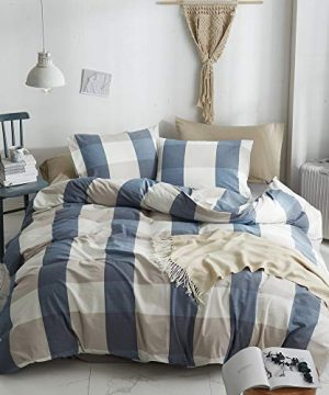HYPREST 100 Washed Cotton Duvet Cover Twin Blue Buffalo Plaid Duvet Cover Set Soft Comfortable Queen Cool Rustic Comforter Cover Bedding SetNO Insert 0 300x360