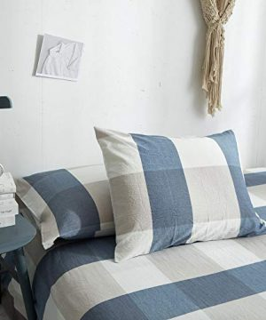 HYPREST 100 Washed Cotton Duvet Cover Twin Blue Buffalo Plaid Duvet Cover Set Soft Comfortable Queen Cool Rustic Comforter Cover Bedding SetNO Insert 0 4 300x360