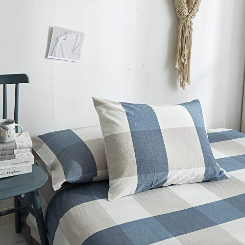 HYPREST 100 Washed Cotton Duvet Cover Twin Blue Buffalo Plaid Duvet Cover Set Soft Comfortable Queen Cool Rustic Comforter Cover Bedding SetNO Insert 0 4
