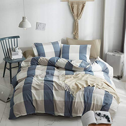 HYPREST 100 Washed Cotton Duvet Cover Twin Blue Buffalo Plaid Duvet Cover Set Soft Comfortable Queen Cool Rustic Comforter Cover Bedding SetNO Insert 0