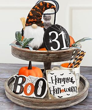Halloween Decor Halloween Decorations Boo Happy Halloween Wooden Signs Cute Gnomes Plush With Bats And Spider Farmhouse Rustic Tiered Tray Decor Items For Home Table House Room 0 300x360