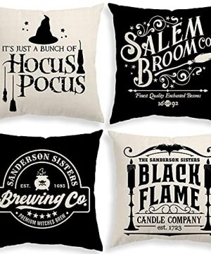 Halloween Decor Pillow Covers 18x18 Set Of 4 Halloween Decorations Hocus Pocus Farmhouse Saying Outdoor Fall Pillows Decorative Throw Cushion Case For Home 0 300x360