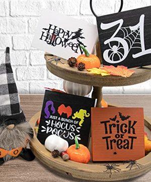 Halloween Decorations Halloween Tiered Tray Decor 4PCS Trick Or Treat 31 Happy Halloween Wood Signs And 1 Plaid Gnomes Plush Farmhouse Rustic Halloween Decor Fall Decor 0 300x360
