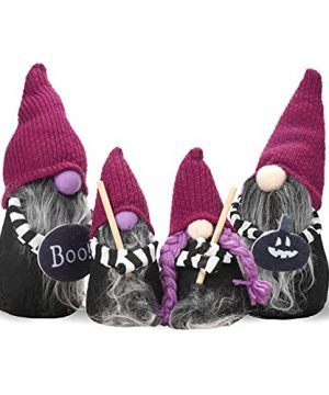 Halloween Family Gnomes Handmade Swedish Purple Plush Dolls For Home Party Decorations Ornaments Indoor Set Of 4 0 300x360